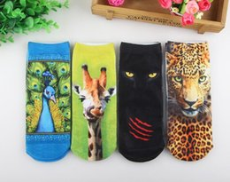 3D Short tube Harajuku style personality cotton socks pattern item F painting eacock Panther giraffe Leopard
