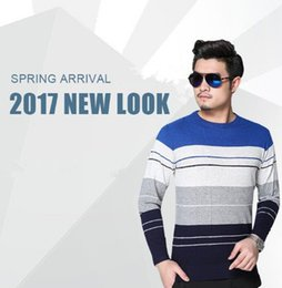 wholesale-Free shipping 2017 new high quality mile wile men's stripe sweater knit cotton sweater jumper pullover sweater men