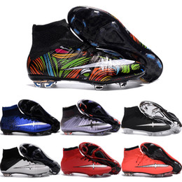 Wholesale 2016 New Football Shoes Mercurial Superfly FG Men Cleats High Quality Soccer Boots Original Discount Striped Sports Shoes Size