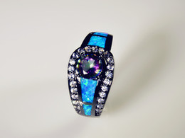Wholesale & Retail Fashion Fine Blue Fire Opal Rings with Blue Cubic Zirconia 10KT Black Gold Filled ROF1507001