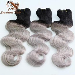 Cheap Human Ombre Grey Hair Weave 3Pcs Lot Hair Extensions Brazilain Ombre Two Tone Color #1B Grey Straight Hair Weave Hair Extensions