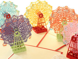 Wholesale 3D Sky Wheel Greeting Gift Cards Happy Wedding Birthday Anniversary Handmade Colorful Birthday Party Favor Gift