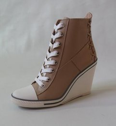 Wholesale Ash Women s Lace Up Wedge Sneakers Apricot Genuine Leather Fashion Trainers On Hot Sale Tide Ankle Boots Wedge Leather Sport Shoes