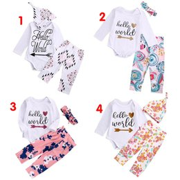 Wholesale Summer Kids Romper Set - high quality girl suits 3PCS Newborn Baby Girls Hello World long sleeve t shirt Tops Romper+Floral Pants+Hat casual Outfits kids Clothes Set