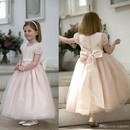 2015 Princess Flower Girls Dresses Short Sleeves Jewel Tulle Bows Covered Button Ankle Length Lovely Little Kids Dress Birthday