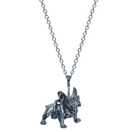1pcs New Design Realistic French Bulldog Miniature Animal Shaped Pendant Necklace in Bronze Silver Boho Bijoux For Men for Teen Girls Women