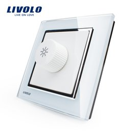 Wholesale Manufacturer Livolo New Dimmer Switch White Crystal Glass Panel AC V Home Wall Light Switch VL W291G