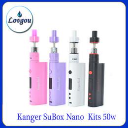 Wholesale Kang SuBox Nano kits de iniciación w blanco negro púrpura Colors rosadas con el mini kit vs Pegasus subox KBox Nano Nano depósito secundario mod v2