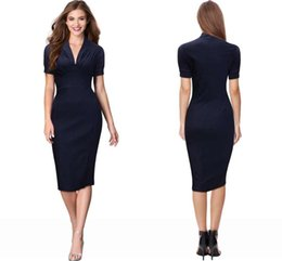 Wholesale 2016 Fashion Dark Navy Bodice Knee Length Women Formal Work Dresses Sheath Lantern Sleeves Slim Sexy OL Work Dresses FS0073