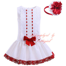 Wholesale Pettigirl Best Sellers Boutique Summer Sleeveless Red Lace Hem White Dress For Girls With Headbands Baby A Line Clothes G DMGD905
