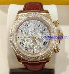 NUEVO 2015 HOT- Marca de fábrica nueva del lujo 18k de oro rosa diamante de extendido de marcado automático 116509 del reloj para hombre cuero de los hombres de la correa de Deporte Wr desde wr s proveedores