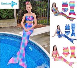 Wholesale Short Blue Skirt Cartoon - Girls swimming clothes 2016 Summer beach mermaid three-piece suit Sling T shirt + shorts + skirt tails Cartoon girl students swimsuit