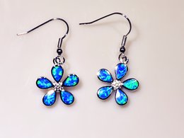 Wholesale & Retail Fashion Fine Blue Fire Opal Earrings with 925 Silver Plated Jewelry EF160224
