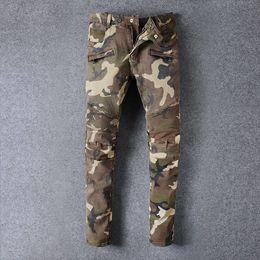 Wholesale top quality men s males punk ds dj night club balmain folding camo biker Locomotive jeans denim jeans beggar pants