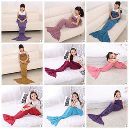 Wholesale Kids Mermaid Blankets Handmade Mermaid Tail Blankets Mermaid Tail Sleeping Bag Knit Sofa Nap Falbala Blankets Poke Costume Cocoon B808