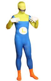 Trajes de cuerpo de spandex al por mayor en Línea-Al por mayor-Luigi Super Mario super héroe Zentai traje completo Trajes de Halloween Lycra Spandex Disfraces Cosplay Catsuit Unitard