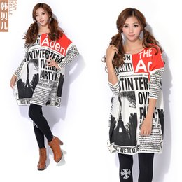 Wholesale Autumn And Winter New Female European And American Newspapers Printed Large Size Women Knitted Sweaters