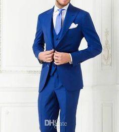 Free Shipping Fashion Blue Groom Tuxedos Wedding suits for men Groomsman Suit Jacket+Pants+Vest best men Suit