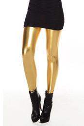 Wholesale-IMC Metallic Wet Look Liquid Leggings Shiny Stretch Women Pencil Pants Gold Black Green