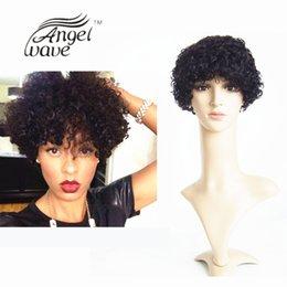 Wholesale Super Short Hairstyles short Curly Wigs human hair inch Black Color Natural Cheap Hair Wig Machine Made Human Hair Wig