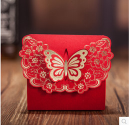China Style Red Paper Candy Box Rectangle Hot Flower Butterfly100 piece  lot made in china Wedding Favor Holder Wedding Supplies