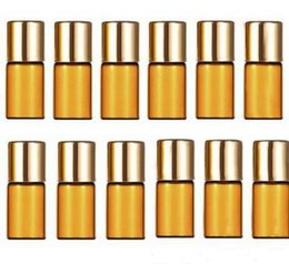 Factory Price 3ml Aromatherapy Essential Oil Amber Glass Roll on Bottles for Essential Oils, Perfumes, Glass Roller Ball
