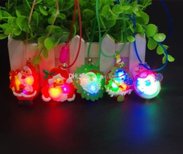 Wholesale Christmas Flashing Light Necklace Wholesale - Xmas decorations LED glow shine Santa Claus flashing necklaces children adult Luminous kids Christmas toys gift LED Lighted Toys ornament