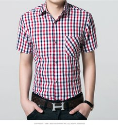 New men 100% cotton short sleeve shirt men men leisure fashion plaid short-sleeved shirt lapel cardigan plaid pocket shirt