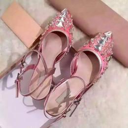 Boda de la sandalia del tacón alto cm en venta-Cristales de la boda nupcial 6 cm tacón grueso cuero genuino sandalias de verano de tacón alto mujeres zapatos damas vestido de princesa zapatos pío dedo del pie Sz 34-39