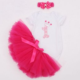 Wholesale 3pcs Sweet Baby Girls Party Clothing Romper Dress set Infant Bebe Girls Birthday Costumes Jumpersuit Headband Dress Suits