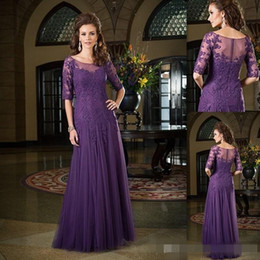 Mother Bride Evening Dresses Half Sleeves Dark Purple Dress Of The Groom Tulle Applique Lace Sheer Neck Long Evening Party Gown