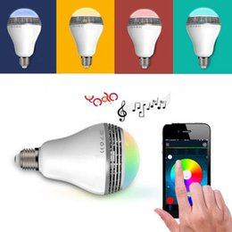 Wholesale USA New Wireless Control Speaker Smart Music Audio Speaker LED RGB Color Bulb Light Lamps E27 Seven Color