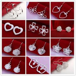 Fashion women jewelry mixed 12 style 925 sterling silver plated stud earrings for women heart clover charm dangle earrings