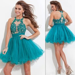 Two Pieces Dresses 2016 Hunter Green Short Mini Prom Gowns Lace Beaded And Puffy Tulle Halter Neck Cheap Homecoming Dress For Graduation
