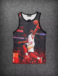 Wholesale Fashion Sport Man s Tank Top Mesh Grid Gym Vest Quick Dry D print Lebron Harden Kobe Size M XXL