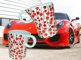 Porcelain Ceramic Fashionable Flower Spots Coffee Mug Tea Cup Bear Cup Mug 450ML
