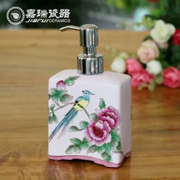 Wholesale 350ml Square Liquid soap dispenser bottle Ceramics Kitchen Sanitizer soap dispenser Hand Painted Foam soap Dispensers