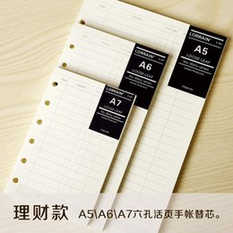 Wholesale Books loose leaf refill filofax a5 a6 accounts recording notebook financing paper spiral business filler papers