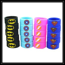 Wholesale Superman Batman Captain America Flash Silicone Vape Band Engraved Logo Silicon Beauty Decorative Ring For RTA RDA Atomizer Mechanical Mods