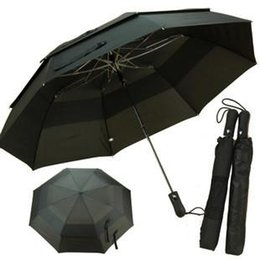 Wholesale Automatic Double layer Windproof Oversized Best Mens Umbrellas Folding Commercial Business Black Golf Umbrella
