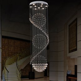 Wholesale Modern minimalist chandelier crystal chandelier long staircase lights villa living room chandeliers LED rotary hanging lamp K9 crystal