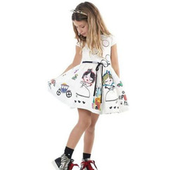 New 2016 Baby Girls print cartoon party Dresses Toddler Baby sleeveless cotton white painting Princess Party summer dress children clothing