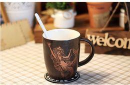 Wholesale Europe retro Starbucks classic Golden mermaid cup Coffee mug oz Brown Mermaid goddess relief ceramic mug for coffee Milk water
