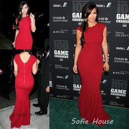 Beautiful Kim Kardashian Evening Dress Red Carpet Cap Sleeve Zipper Long Celebrity Occasion Dresse Party Gown