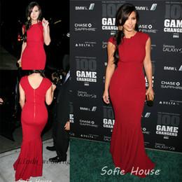 Beautiful Kim Kardashian Evening Dress Red Carpet Cap Sleeve Zipper Long Celebrity Occasion Dresse Party Gown