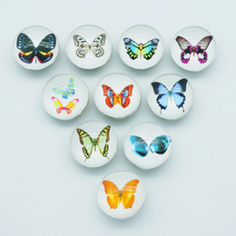 Hot sale Beauty NB0055 Butterfly Mixed 18MM Photo Glass cabochon Ginger snap buttons for DIY ginger snap jewelry bracelet Accessories