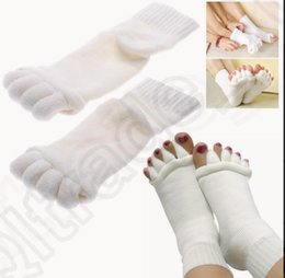 Wholesale 10 color KKA152 Foot Toe Alignment Massage Socks Stretch Tendon Feet Pain Relief Toes Separators Relaxing Tired Feet Bunions Socks pair