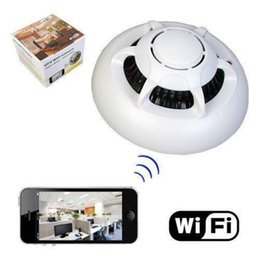 Wholesale Smoke Detector Video Recorder - HD UFO WI-FI WiFiPoint-to-Point Smoke Detector Wireless IP Camera Hidden Nanny Cam Video Recorder Camcorder P2P