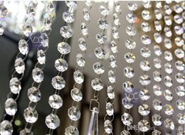 Wholesale 30M FT roll14mm acrylic Octagonal beaded clear crystal garland strands for wedding decoration chandelier