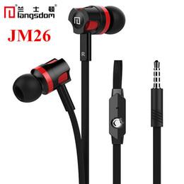 Wholesale Original Langsdom JM26 Stereo Bass Earphones With Microphone mm Standard Jack In Ear Headset Handsfree Black White